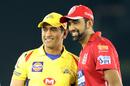 MS Dhoni and R Ashwin strike a pose, Kings XI Punjab v Chennai Super Kings, IPL 2018, Mohali, April 15, 2018