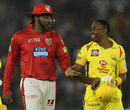 Chris Gayle chats with Dwayne Bravo, Kings XI Punjab v Chennai Super Kings, IPL 2018, Mohali, April 15, 2018