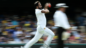 Wahab Riaz delivers the pink ball