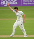 Josh Tongue celebrates a wicket, County Championship, Division One, Hampshire v Worcestershire, Ageas Bowl, 1st day, April 13, 2018