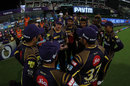 Chris Lynn leads the discussion in the huddle, Kolkata Knight Riders v Delhi Daredevils, IPL 2018, April 16, 2018, Kolkata