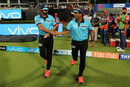 Umpires Anil Chaudhary and Nand Kishore walk out, Kolkata Knight Riders v Delhi Daredevils, IPL 2018, April 16, 2018, Kolkata