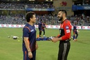 Sachin Tendulkar and Virat Kohli share a light moment, Mumbai Indians v Royal Challengers Bangalore, IPL 2018, Mumbai, April 17, 2018