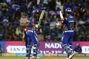 Evin Lewis celebrates his maiden IPL fifty, Mumbai Indians v Royal Challengers Bangalore, IPL 2018, Mumbai, April 17, 2018