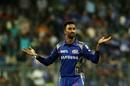 Krunal Pandya celebrates Corey Anderson's wicket, Mumbai Indians v Royal Challengers Bangalore, IPL 2018, Mumbai, April 17, 2018