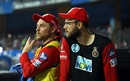 Brendon McCullum and Daniel Vettori have a chat at the dug-out, Mumbai Indians v Royal Challengers Bangalore, IPL 2018, Mumbai, April 17, 2018