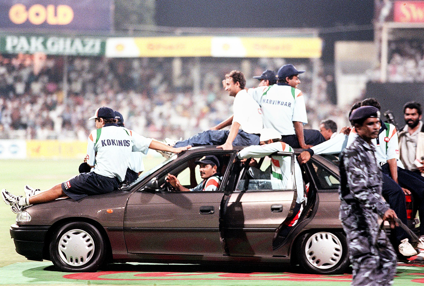 Riding in cars with (my) boys: the Indian players take the Opel gifted to the Player of the Tournament for a spin