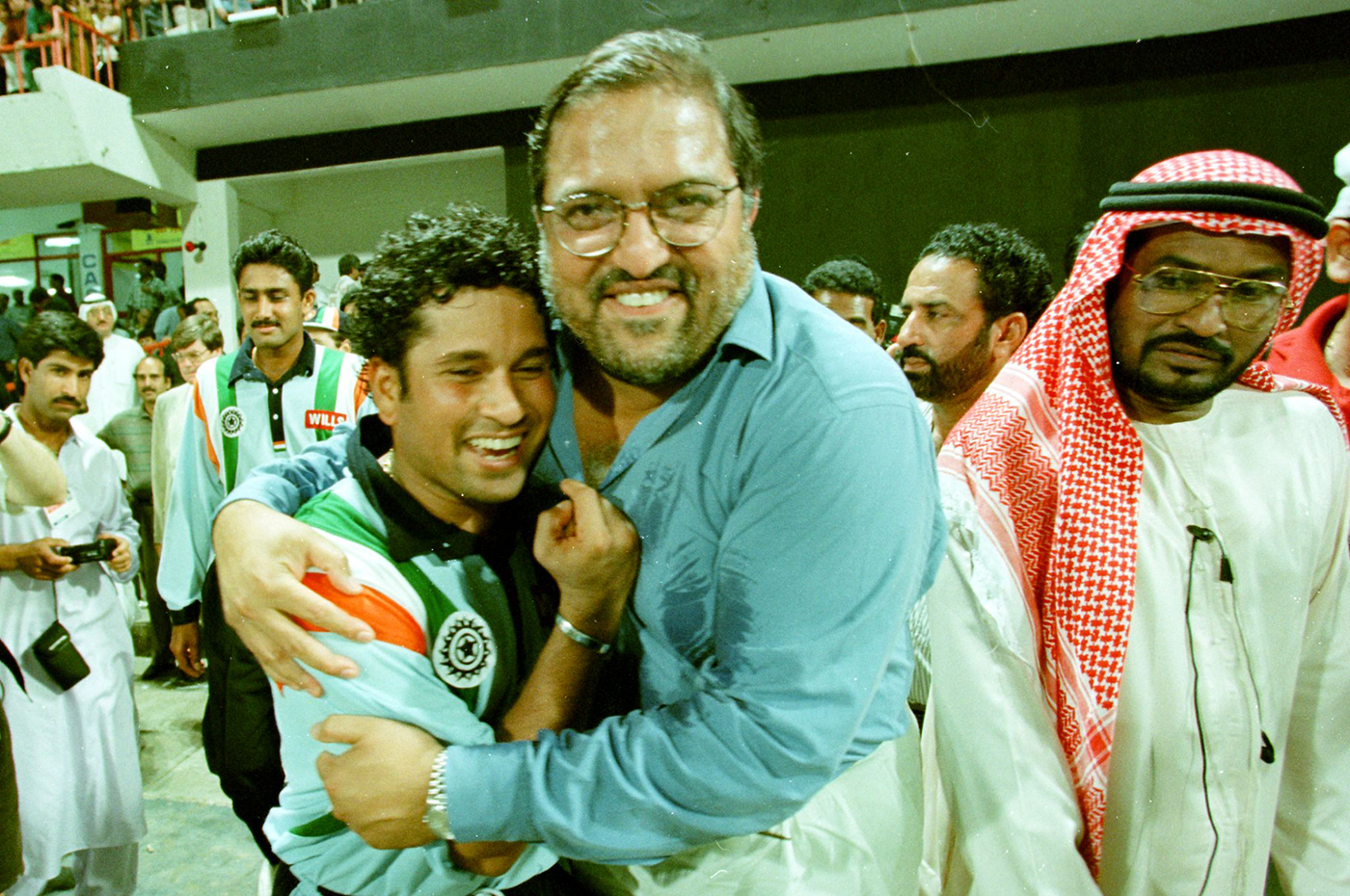 Mark Mascarenhas hugs a sweaty and tired Tendulkar at the end of the tournament