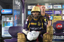 Sunil Narine and Chris Lynn wait for their turn, Rajasthan Royals v Kolkata Knight Riders, IPL 2018, Jaipur, April 18, 2018