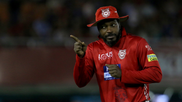 Chris Gayle engages the spectators near the boundary rope