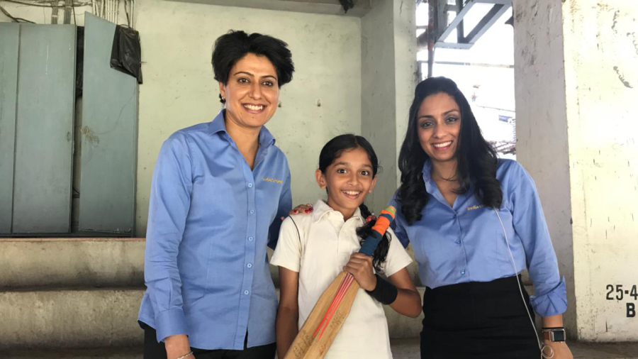 Young Durga with Anjum Chopra and Isa Guha at the Brabourne Stadium in March this year
