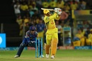MS Dhoni dragged a catch to long-on, Chennai Super Kings v Rajasthan Royals, IPL 2018, Pune, April 20, 2018