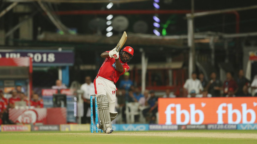 Chris Gayle launches one into the leg side