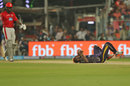 Andre Russell falls to the floor in pain, Kolkata Knight Riders v Kings XI Punjab, IPL 2018, Kolkata, April 21, 2018