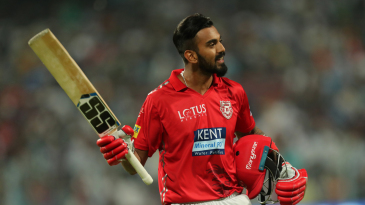 KL Rahul walks back to the pavilion after scoring a fifty