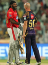 Chris Gayle and Chris Lynn shake hands, Kolkata Knight Riders v Kings XI Punjab, IPL 2018, Kolkata, April 21, 2018