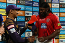 Sunil Narine hands Chris Gayle the Orange Cap, Kolkata Knight Riders v Kings XI Punjab, IPL 2018, Kolkata, April 21, 2018