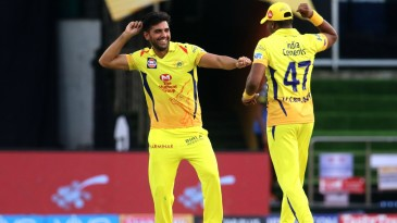 Deepak Chahar and Dwayne Bravo celebrate a wicket