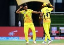 Deepak Chahar and Dwayne Bravo celebrate a wicket, Sunrisers Hyderabad v Chennai Super Kings, IPL 2018, Hyderabad, April 22, 2018