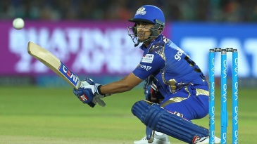 Ishan Kishan reaches out to play through the off side
