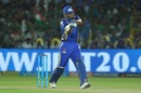 Kieron Pollard tried to lift Mumbai amid rapid late wickets, Rajasthan Royals v Mumbai Indians, IPL 2018, Jaipur, April 22, 2018