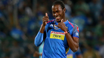 Jofra Archer celebrates the wicket of Mitchell McClenaghan