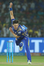Mitchell McClenaghan in his follow through, Rajasthan Royals v Mumbai Indians, IPL 2018, Jaipur, April 22, 2018