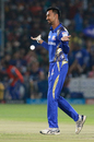 Krunal Pandya brought out a subdued celebration to commemorate a wicket, Rajasthan Royals v Mumbai Indians, IPL 2018, Jaipur, April 22, 2018