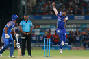Jasprit Bumrah leaps ahead of taking his delivery stride, Rajasthan Royals v Mumbai Indians, IPL 2018, Jaipur, April 22, 2018