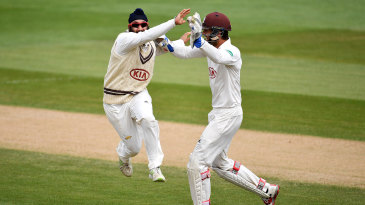 Amar Virdi celebrates a wicket