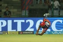 Avesh Khan took a good low catch to send back Aaron Finch, Delhi Daredevils v Kings XI Punjab, IPL 2018, Delhi, April 23, 2018