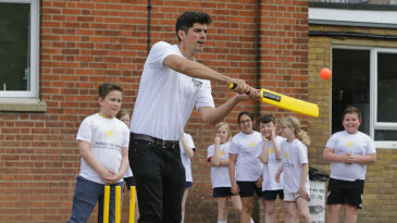Alastair Cook plays cricket with schoolkids during a Chance to Shine / Yorkshire Tea event