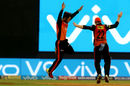 Rashid Khan and Kane Williamson leap in joy with Kieron Pollard's wicket, Mumbai Indians v Sunrisers Hyderabad, IPL, April 24, 2018