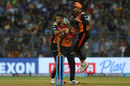 Siddarth Kaul is mobbed by Shakib Al Hasan and Manish Pandey, Mumbai Indians v Sunrisers Hyderabad, IPL, April 24, 2018