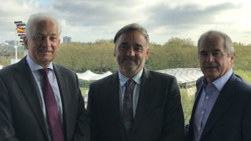 David Gower, Keith Bradshaw and Allan Lamb at the launch of New Commonwealth