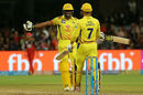 'We did it, skipper.' - Dwayne Bravo rushes in to celebrate with MS Dhoni, Royal Challengers Bangalore v Chennai Super Kings, IPL, April 25, 2018