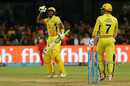 Dwayne Bravo with a celebratory jig after the win, Royal Challengers Bangalore v Chennai Super Kings, IPL, April 25, 2018