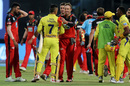 MS Dhoni and AB de Villiers shake hands after the game, Royal Challengers Bangalore v Chennai Super Kings, IPL, April 25, 2018