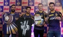 Dinesh Karthik, Kuldeep Yadav, Tom Curran and Cameron Delport at the launch of the Avengers merchandise, Delhi, April 26, 2018