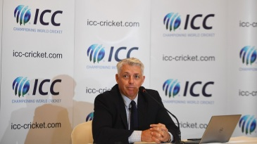 ICC CEO David Richardson addresses a press conference
