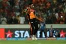 Basil Thampi exults after dismissing Chris Gayle, Sunrisers Hyderabad v Kings XI Punjab, IPL 2018, Hyderabad, April 26, 2018