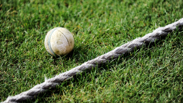 A white ball by the boundary rope