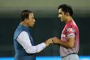 Sunil Gavaskar has a word with Gautam Gambhir, Delhi Daredevils v Kolkata Knight Riders, IPL 2018, Delhi, April 27, 2018