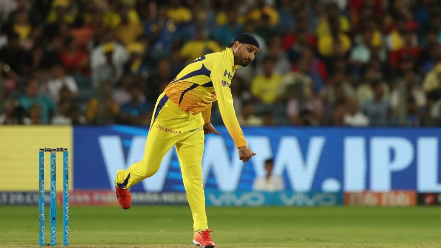Harbhajan Singh in his follow through