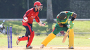 Jake Dunford celebrates after Patrick Matautaava is bowled by Ben Stevens, Jersey v Vanuatu, ICC World Cricket League Division Four, Bangi, April 29, 2018