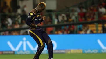 Andre Russell is chuffed after picking a wicket