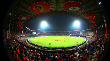 The Chinnaswamy Stadium under lights