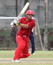 Freddie Klokker pulls behind square for a boundary on his way to top-scoring for Denmark, Denmark v Jersey, ICC World Cricket League Division Four, Kuala Lumpur, April 30, 2018