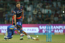 Liam Plunkett tries to run out Rahul Tripathi, Delhi Daredevils v Rajasthan Royals, IPL 2018, Delhi, May 2, 2018