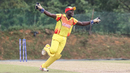 Fred Achelam runs off in celebration after completing the runout to clinch victory, Denmark v Uganda, ICC World Cricket League Division Four, Kuala Lumpur, May 3, 2018